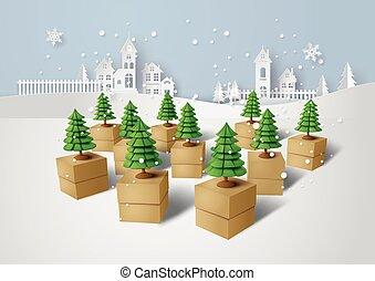 Christmas tree on gift box