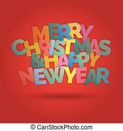 Merry Christmas and happy New Year colorful lettering background vector illustration