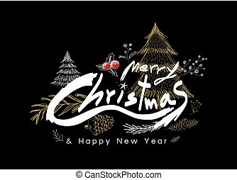 Merry christmas and Happy new year design on black background vector illustration