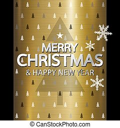 Merry christmas and Happy new year design on gold metal background vector illustration