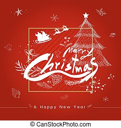 Merry christmas and Happy new year design vector illustration