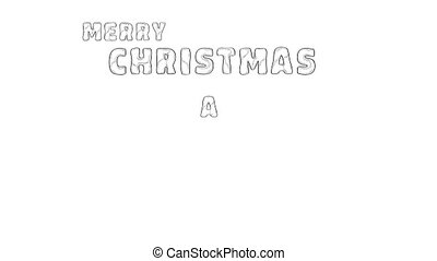 Merry Christmas and Happy New Year drawing simulation video