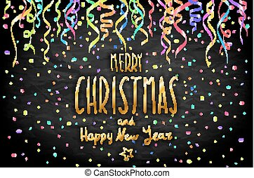 Merry Christmas and Happy New Year gold Shiny Glitter. Calligraphy Typographical on golden Xmas background with winter landscape with color confetti card. Vector Illustration art