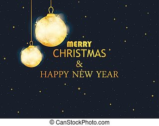 Merry Christmas and Happy New Year. Golden christmas balls on black background. Gold gradient. Greeting card design template. Vector illustration