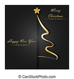 Merry Christmas and Happy New Year. Golden contour Christmas tree and the inscription