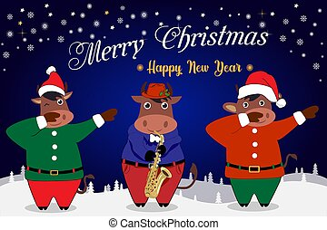 Merry Christmas and Happy New Year greeting card. 2021 at the sign of the Bull.