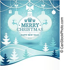 Merry Christmas and Happy New Year greeting card background on winter landscape with snowfall vector illustration