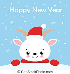 Merry Christmas and Happy New Year greeting card. Cute vector Illustration. Sweet white Goat in scarf and Santa hat