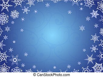 Merry christmas and happy new year greeting card, horizontal holiday background a4 proportions with snowflakes on blue and text place