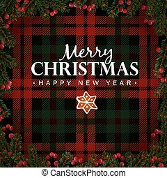 merry christmas and happy new year greeting card invitation christmas tree branches red