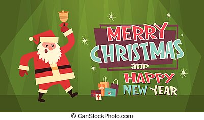 Merry Christmas And Happy New Year Greeting Card Santa And...