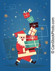 Merry Christmas And Happy New Year Greeting Card Santa Holding Present Stack Winter Holidays Concept Banner