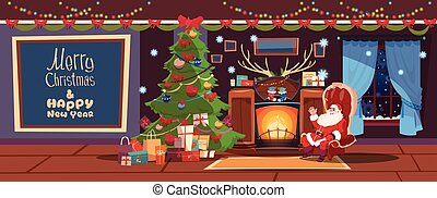 Merry Christmas And Happy New Year Greeting Card Santa Sitting Near Fireplace Winter Holiday Concept Banner