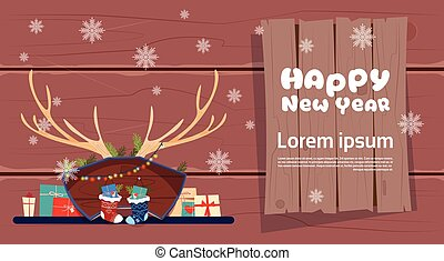 Merry Christmas And Happy New Year Greeting Card Winter Holiday Concept Banner
