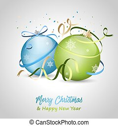 Merry Christmas and Happy New Year greeting card with blue and green baubles, bow, snowflakes and ribbons.