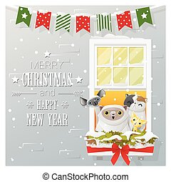 Merry Christmas and Happy New Year greeting card with cat family