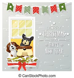 Merry Christmas and Happy New Year greeting card with dog family
