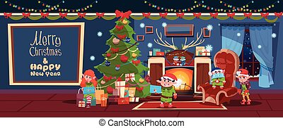 Merry Christmas And Happy New Year Greeting Card With Elfs Near Fireplace Concept Winter Holiday Banner