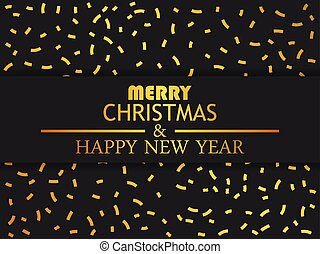 Merry Christmas and Happy New Year. Greeting card with golden confetti. Vector illustration