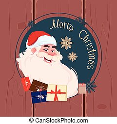 Merry Christmas And Happy New Year Greeting Card With Santa Claus Winter Holidays Banner Concept