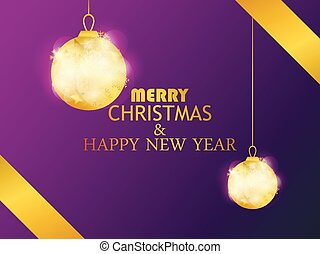 Merry Christmas and Happy New Year. Hanging golden christmas balls. Greeting card design template. Vector illustration