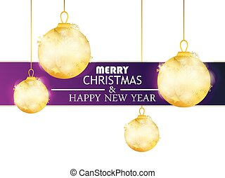 Merry Christmas and Happy New Year. Hanging golden christmas balls. Vector illustration