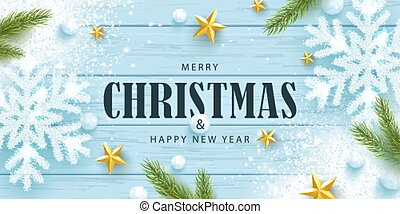 Merry Christmas and Happy New Year horizontal banner. Holiday background with sparkling snowflakes, tree branches, golden stars, snowballs and snow on a wooden background. Festive vector illustration.