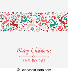 Merry Christmas and Happy New Year greeting card - Merry...
