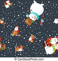 Merry Christmas and Happy New Year Friends Santa Claus in hat snowman in scarf celebrate xmas, snowfall from snowflakes vector illustration