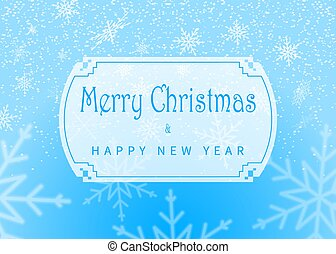 Merry Christmas and Happy New Year inscription on winter background. Christmas design with snowflakes. Vector.