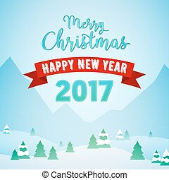 Merry Christmas and Happy New Year Mountains Snowfall Landscape with Trees. Winter Holidays Greeting Card. Vector background