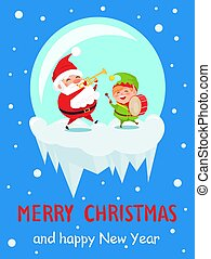 Merry Christmas and Happy New Year Music Poster