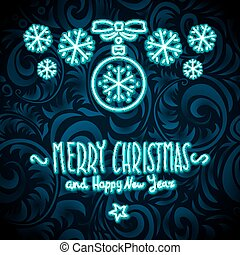 merry christmas and happy new year Neon Sign. background