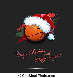 New year and basketball ball in santa hat