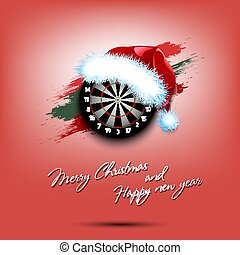New year and dartboard in santa hat