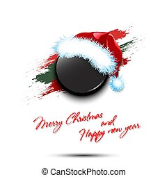 New year and hockey puck in santa hat