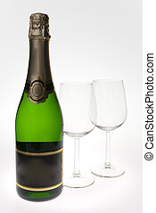 Merry Christmas and happy New year. Pair of champagne flutes making a toast, isolated on white background.