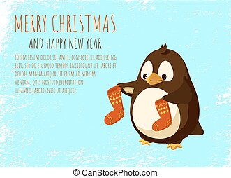 Merry Christmas and Happy New Year Penguin Cartoon
