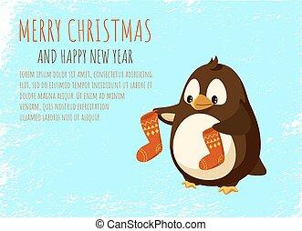 Merry Christmas and Happy New Year Penguin Cartoon