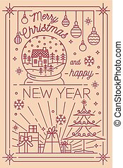 Merry Christmas and Happy New Year postcard template with holiday winter decorations drawn in line art style - snowflakes, fir tree, presents, baubles, snow globe. Monochrome vector illustration.