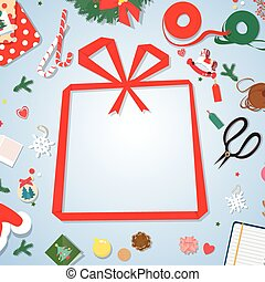 Merry Christmas and Happy New Year postcard.paper copyspace.paper gift frame.
