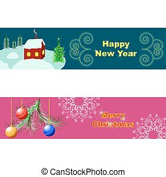 Merry Christmas and Happy New Year postcards