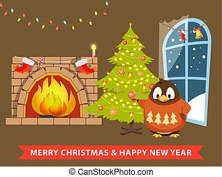 Merry Christmas and Happy New Year Poster Penguin
