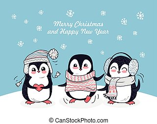 Merry Christmas and Happy New Year Poster Penguins