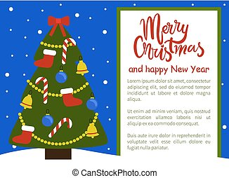Merry Christmas and Happy New Year Poster Tree