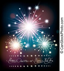 Merry Christmas and Happy New Year Poster with Firework