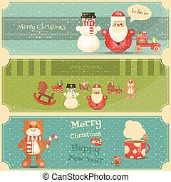 Merry Christmas and Happy New Year Posters Set