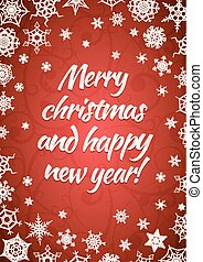 Merry christmas and happy new year, red greeting card, vertical holiday background