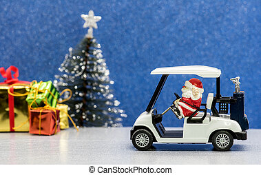 Merry Christmas and Happy New Year, Santa driving golf car for Christmas party