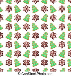 Merry Christmas and Happy New Year Seamless Pattern with Christmas Cookies. Winter Holidays Wrapping Paper
